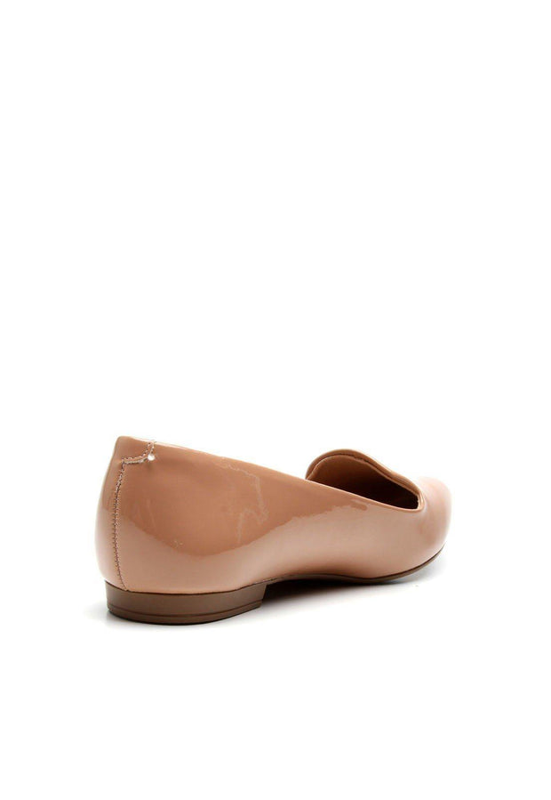 Beira Rio 4243-100 Flat Almond Toe Loafer in Nude Patent Flats Beira Rio