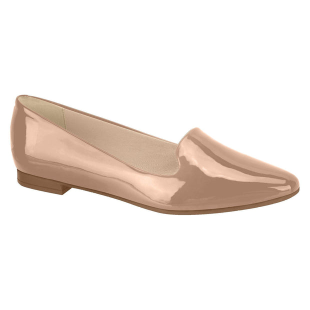 Beira Rio 4243-100 Flat Almond Toe Loafer in Nude Patent