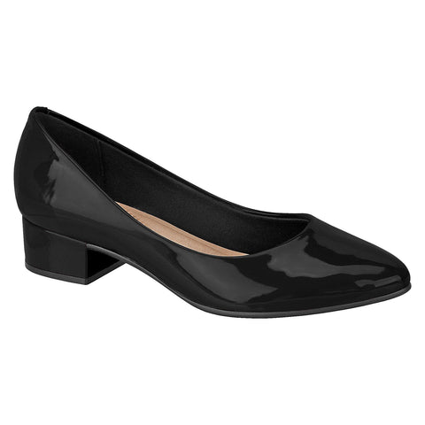 Beira Rio 4244-100 Almond Toe Block Heel Pump in Black Patent