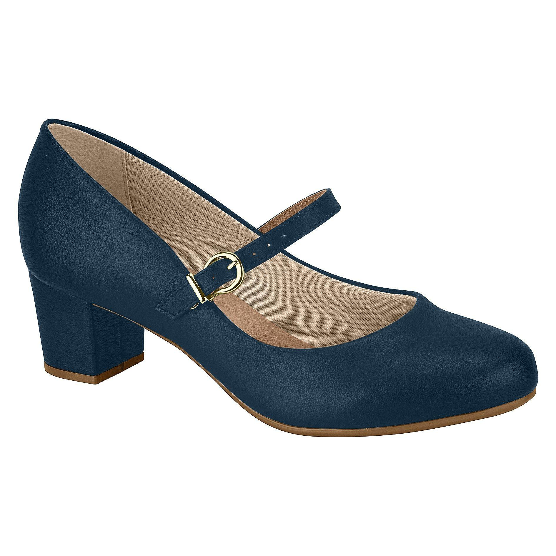 Beira Rio 4777-375 Low Heel Mary-Jane Pump in Navy Napa