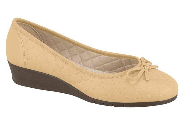 Moleca 5156-405 Low Heel Wedge in Beige Napa