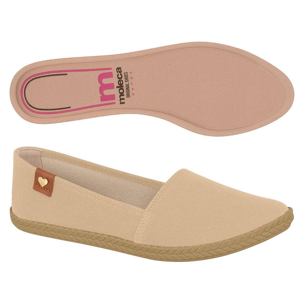 Moleca 5287-210 Slip-On Flat in Beige Canvas
