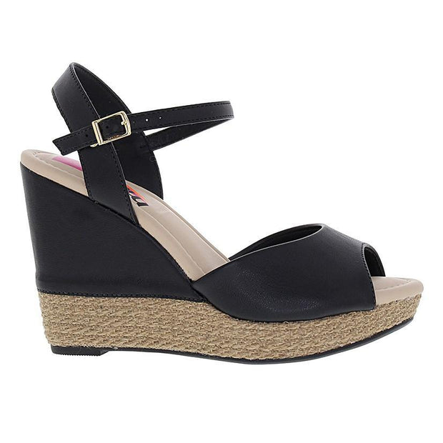 Moleca 5411-307 High Heel Wedge in Black Napa Wedges Moleca