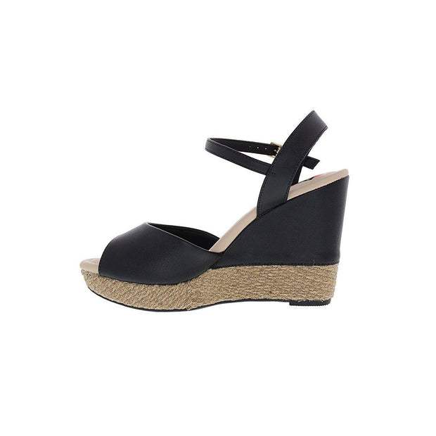 Moleca 5411-307 High Heel Wedge in Black Napa