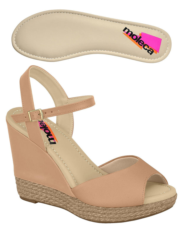 Moleca 5411-307 High Heel Wedge in Nude Napa Wedges Moleca