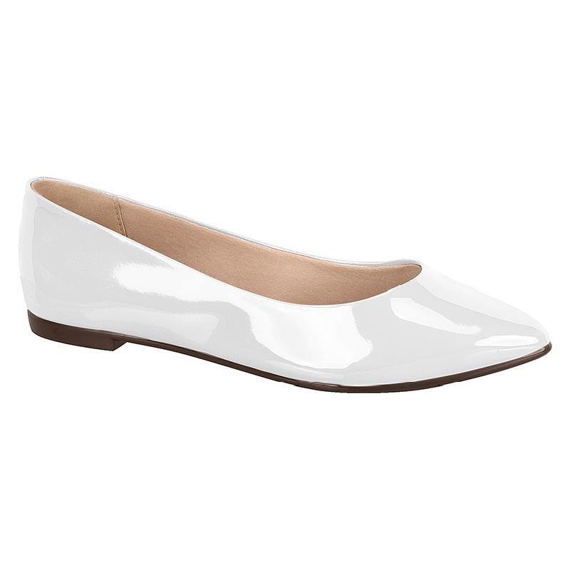 Moleca 5635-100 Pointy Toe Flat in White Patent
