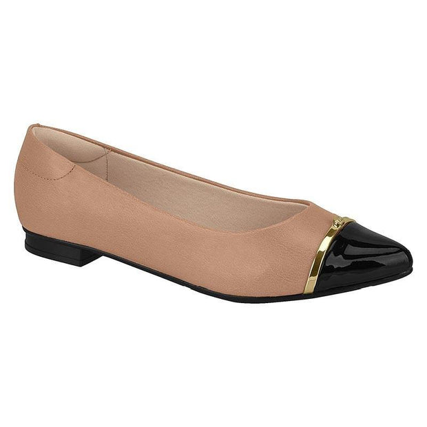 Moleca 5655-214 Pointy Toe Flat in Nude/Black