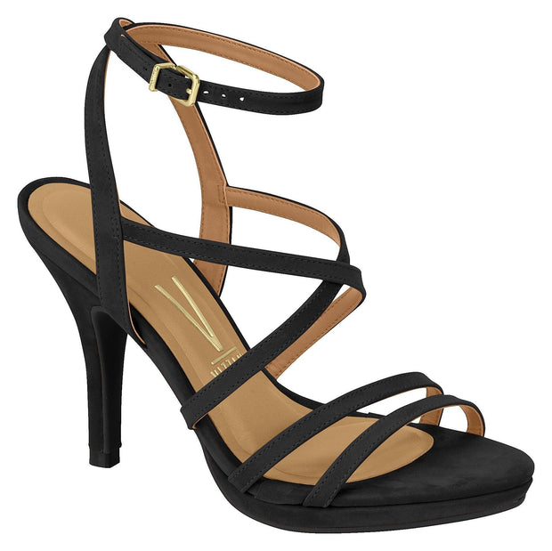 Vizzano 6210-695 High Heel Strappy Sandal in Black Nubuck Sandals Vizzano