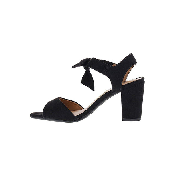 Vizzano 6262-247 Block Heel Sandal with Tie Up Ankle Strap in Black Suede