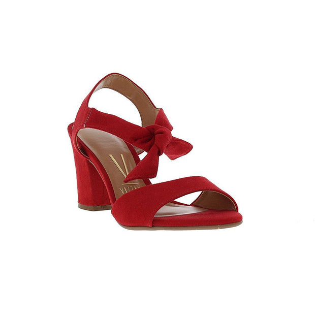 Vizzano 6262-247 Block Heel Sandal with Tie Up Ankle Strap in Red Suede
