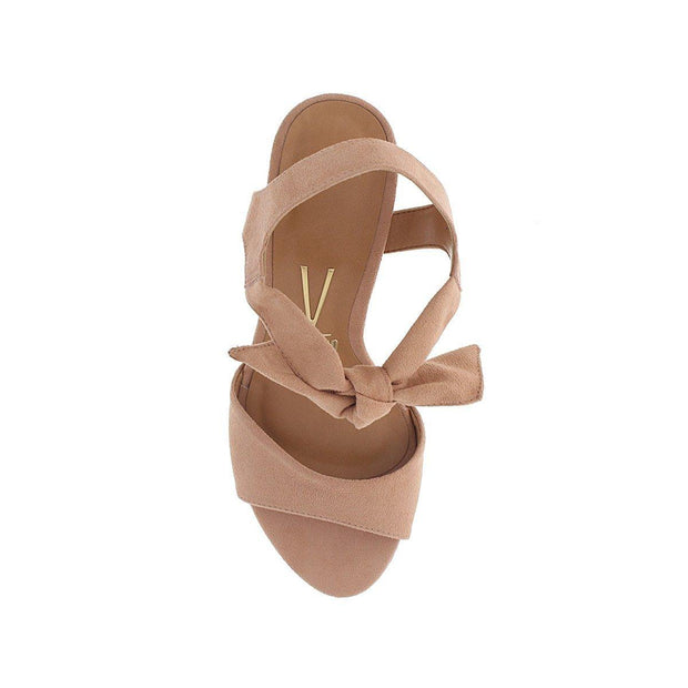 Vizzano 6262-247 Block Heel Sandal with Tie Up Ankle Strap in Nude Suede