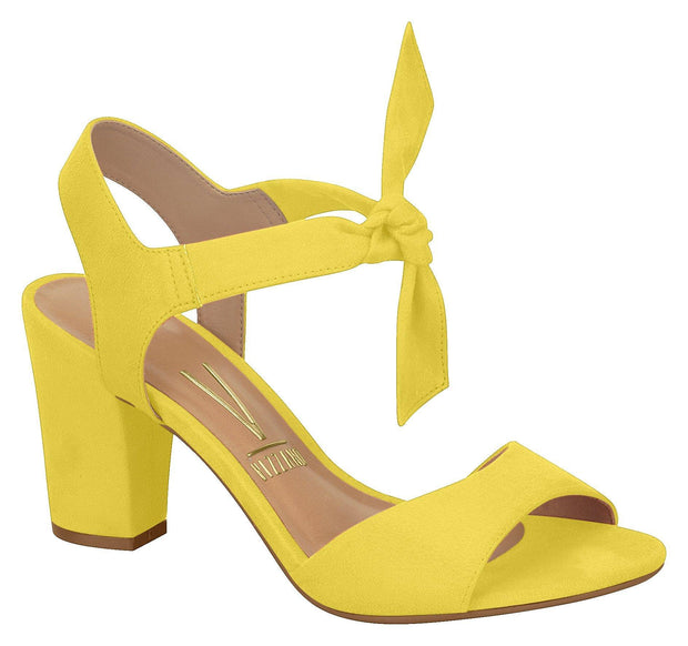Vizzano 6262-247 Block Heel Sandal with Tie Up Ankle Strap in Yellow Suede