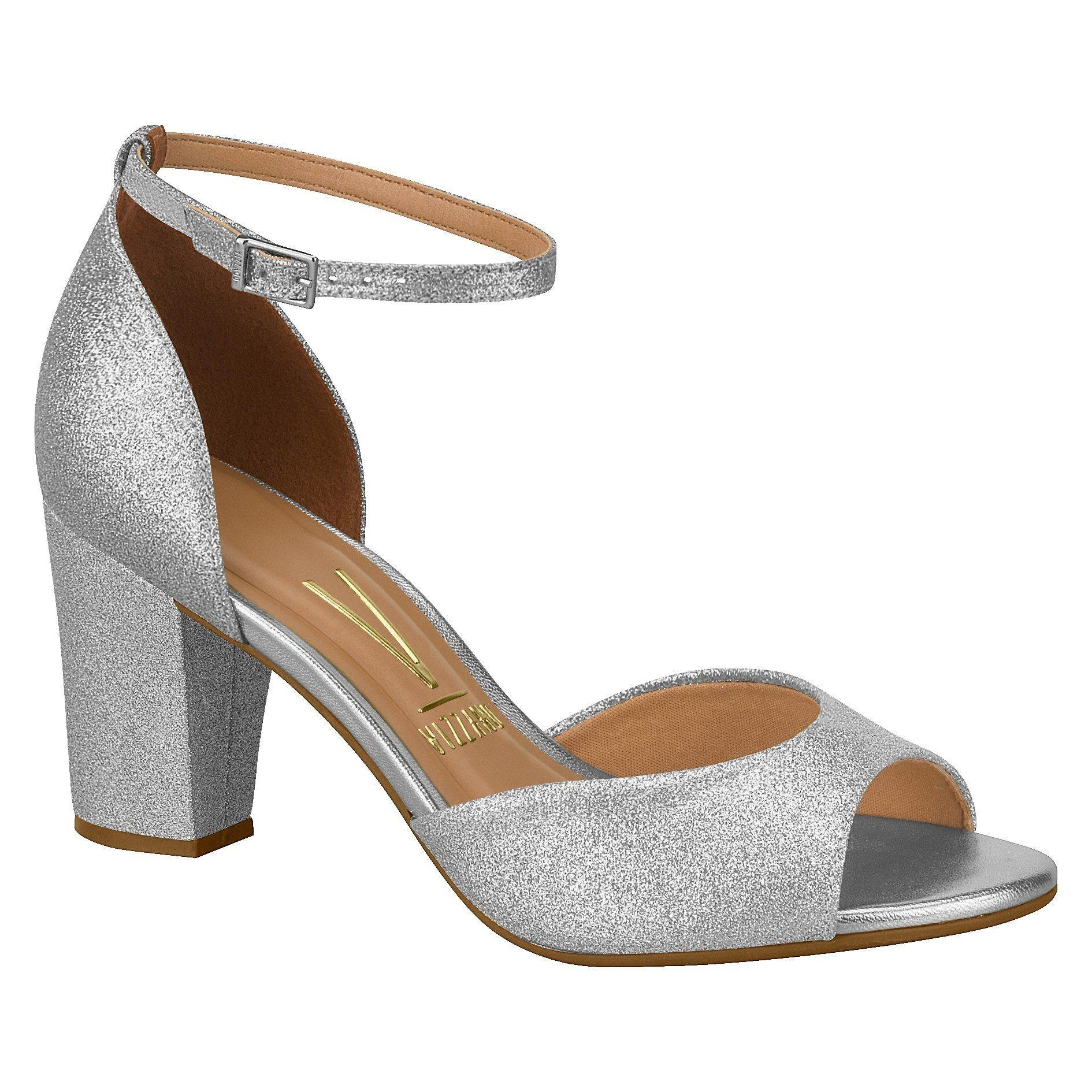 Vizzano 6262-406 Evening Block Heel Sandal in Silver Glitter