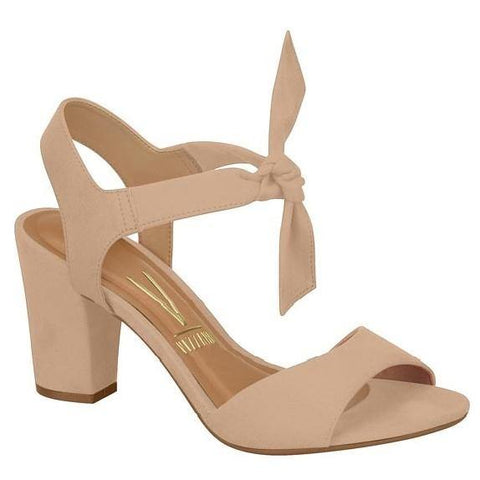 Vizzano 6262-447 Block Heel Sandal with Tie Up Ankle Strap in Nude Suede
