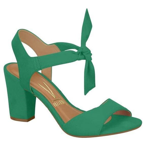 Vizzano 6262-447 Block Heel Sandal with Tie Up Ankle Strap in Green Suede