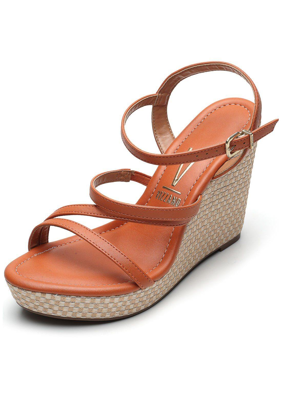 Vizzano 6283-2055 Strappy Wedge Sandal in Orange Napa