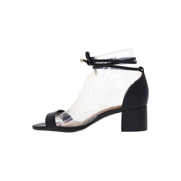 Vizzano 6291-963 Strappy Block Heel Sandal in Black Napa Sandals Vizzano