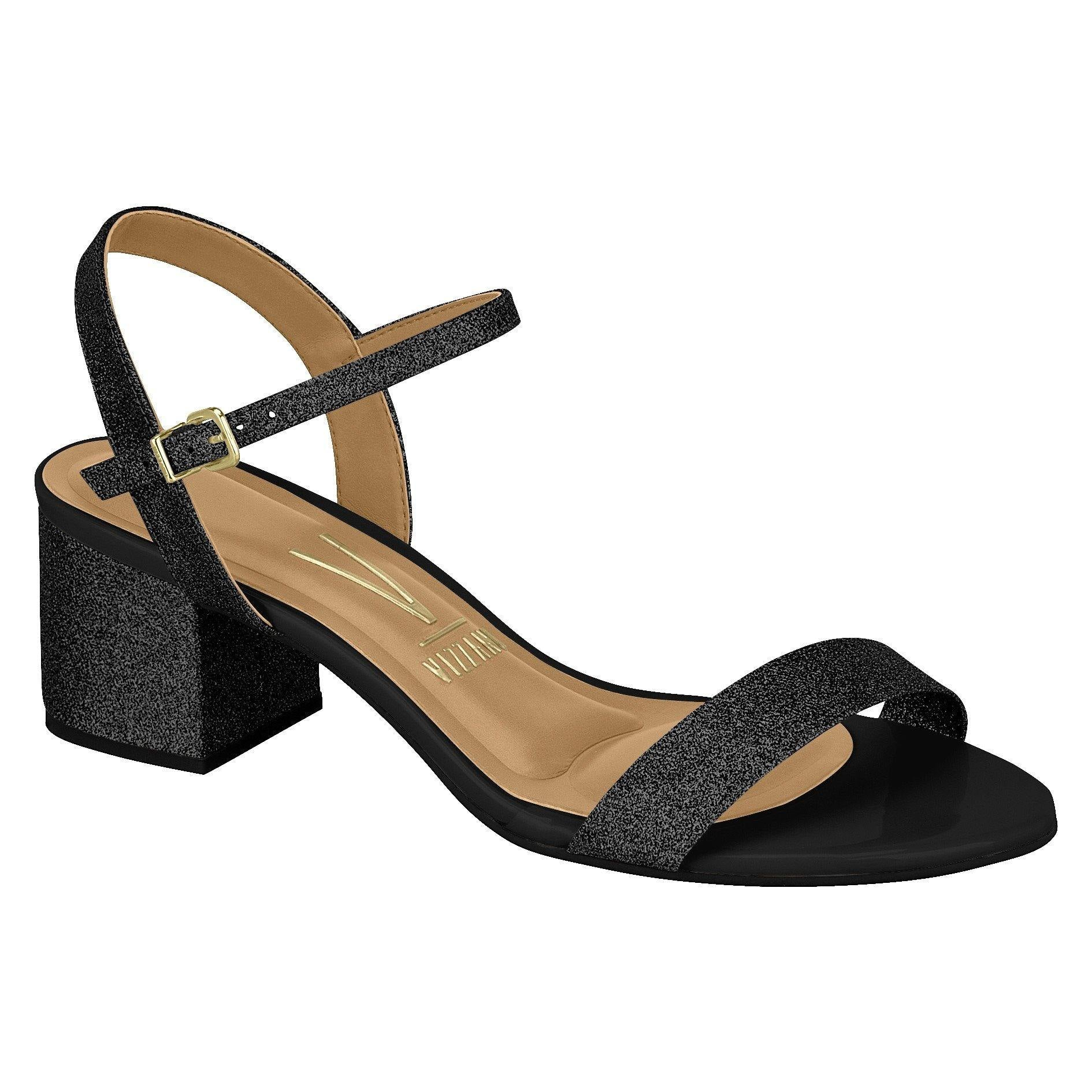 Vizzano 6291-900 Low Heel Sandal in Black Glitter