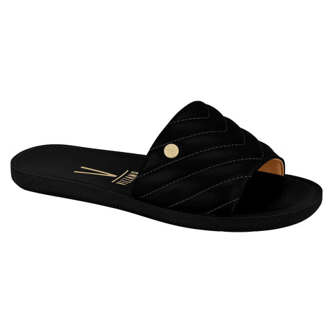 Vizzano 6363-129 Slip On Flat Sandal in Black Napa