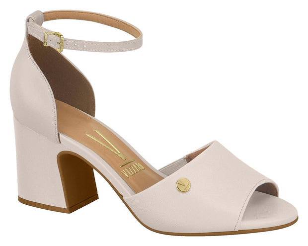 Vizzano 6387-102 Block Heel Sandal in Cream Napa