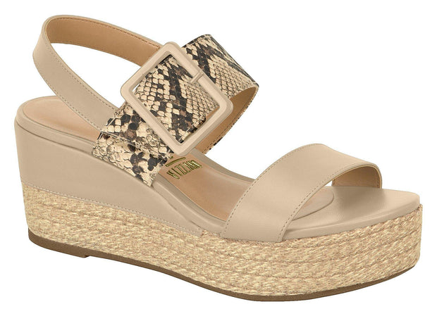 Vizzano 6407-102 Flatform Wedge in Beige Napa Wedges Vizzano