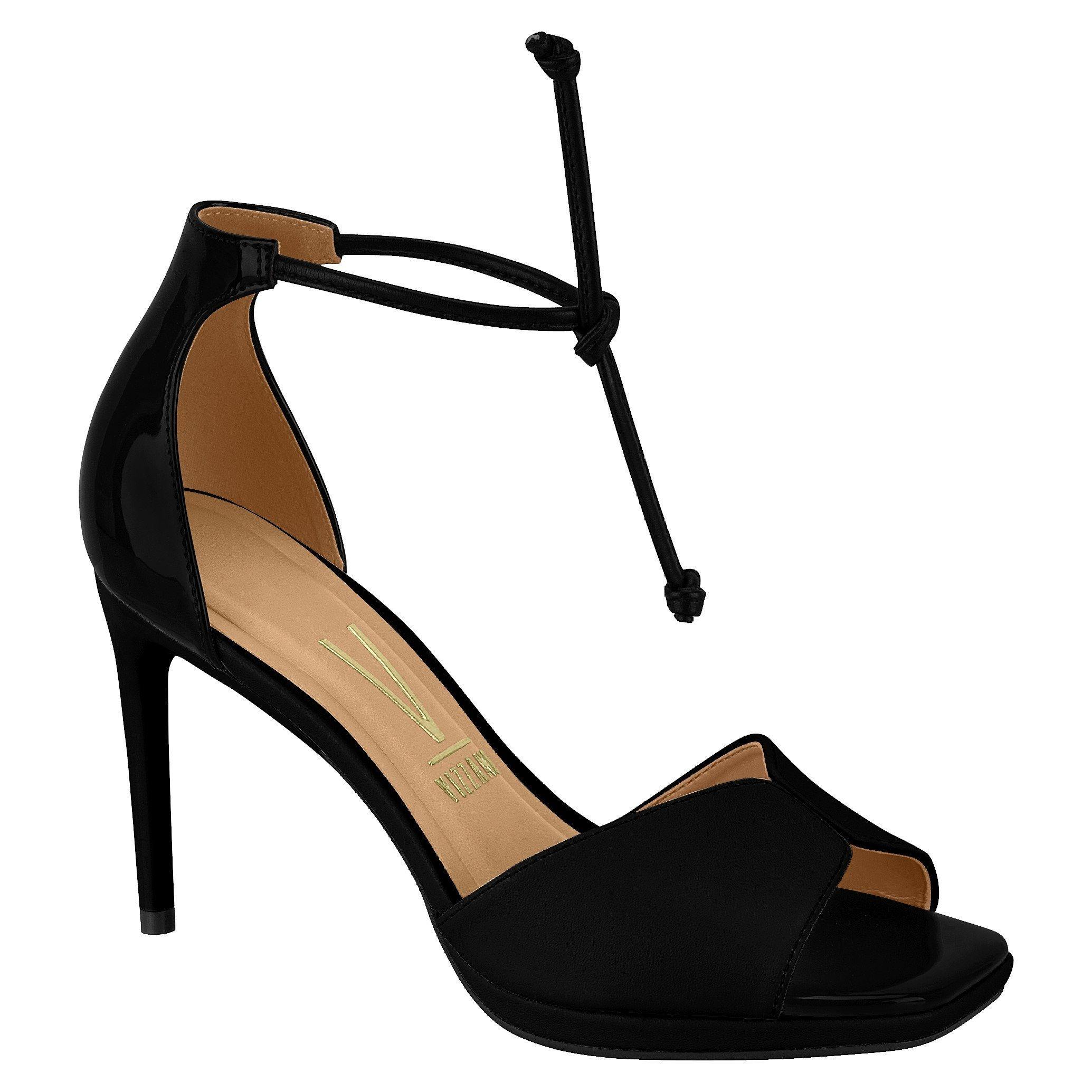 Vizzano 6432-106 High Heel Tie-up Stiletto Sandal in Black
