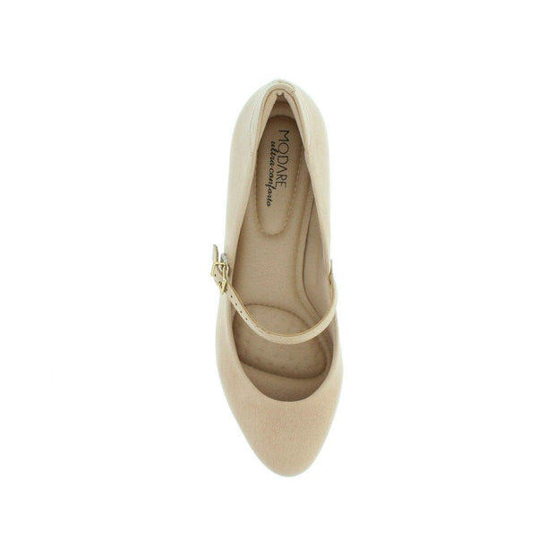 Modare 7005-641 Low Heel Mary-Jane Pump in Beige Napa