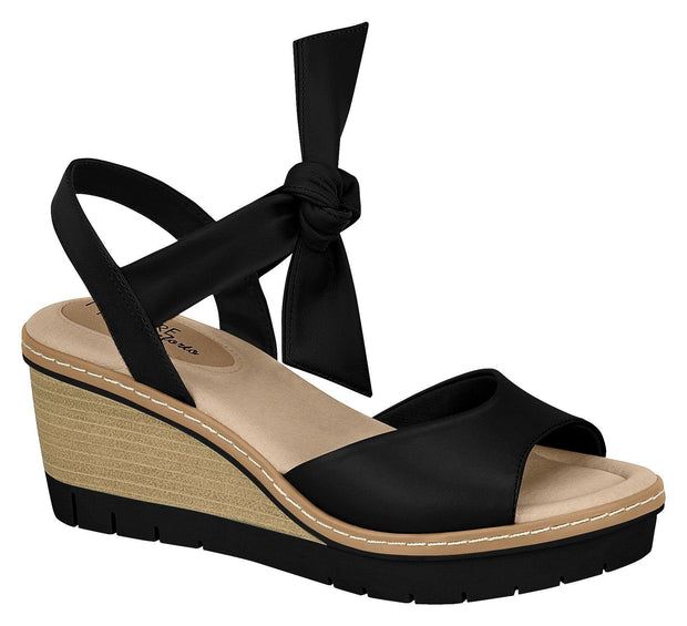 Modare 7140-103 Wedge with Tie-up Ankle Strap in Black Napa