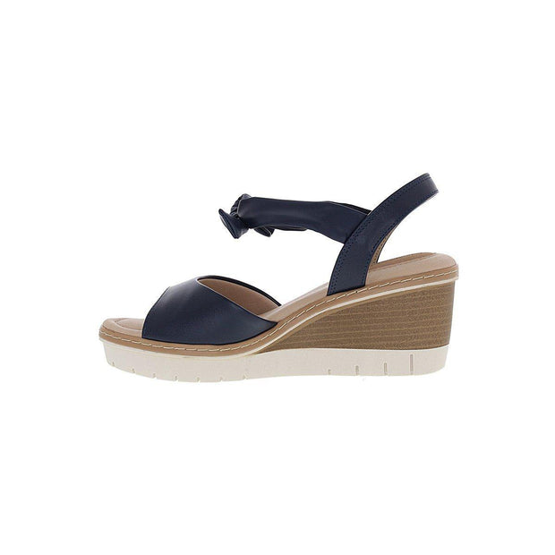 Modare 7140-103 Wedge with Tie-up Ankle Strap in Navy Napa Wedges Modare