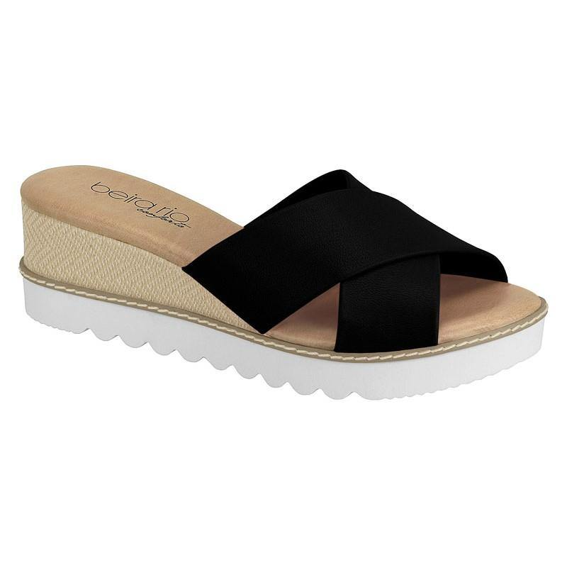 Beira Rio 8325-205 Slip-On Wedge in Black Napa