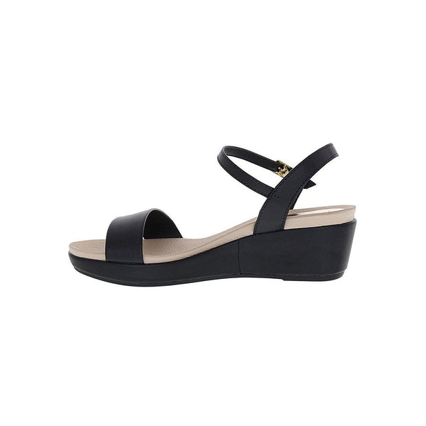 Beira Rio 8381-106 Low Heel Wedge Sandal in Black Napa