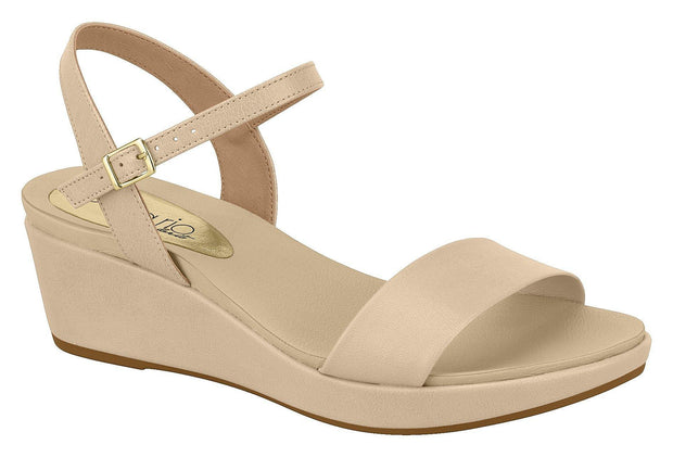 Beira Rio 8381-106 Low Heel Wedge Sandal in Beige Napa