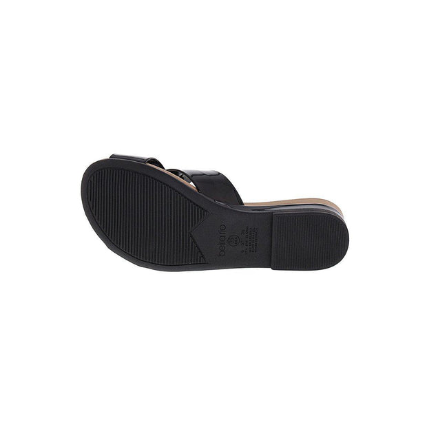 Beira Rio 8397-104 Slip-on Sandal in Black Patent Sandals Beira Rio