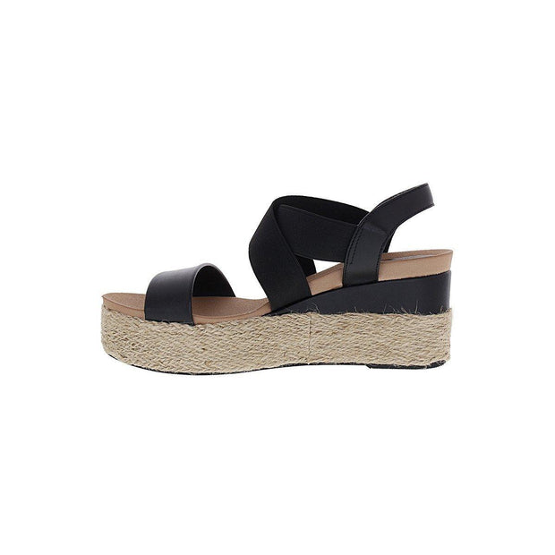 Beira Rio 8407-202 Flatform Espadrille Wedge in Black Napa