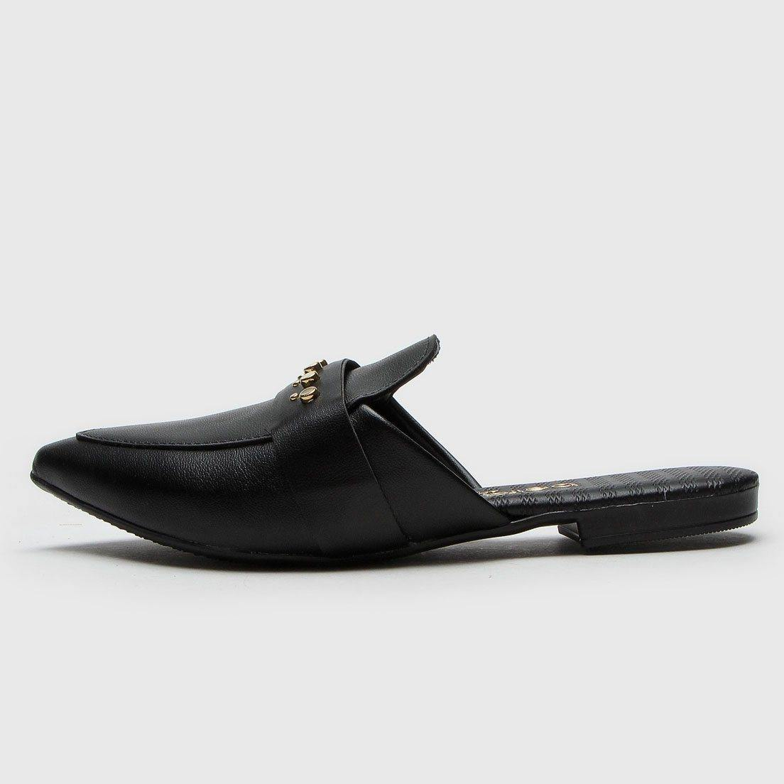 Beira Rio 4134-468 Pointy Toe Flat Mule in Black Napa