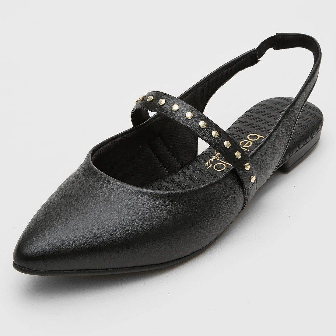 Beira Rio 4134-470 Pointy Toe Slingback Flat in Black Napa
