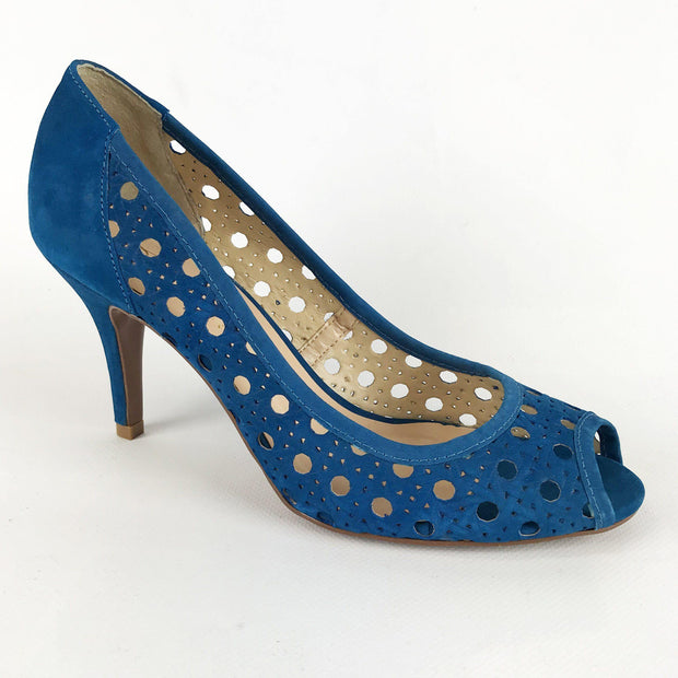 Stephanie 3590004 Nubuck in Blue Heels Stephanie