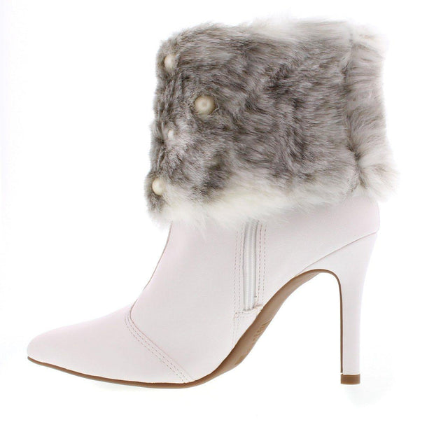 Vizzano 3049-221 Stilleto Fur Heel Ankle Boot in White Napa