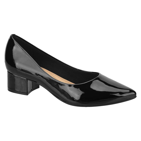 Beira Rio 4182-100 Low Heel Pump in Black Patent