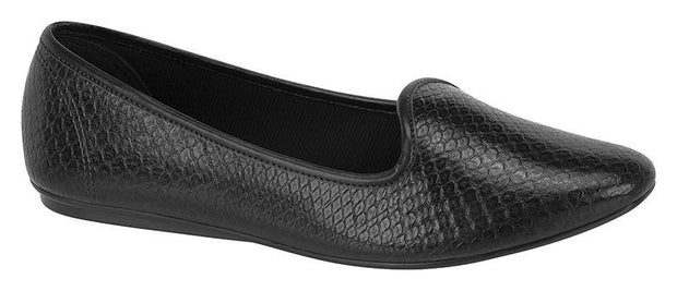 Beira Rio Slip-on Flat in Black Snake Patent
