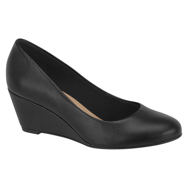 Beira Rio 4791-100 Classic Low Heel Wedge in Black Napa