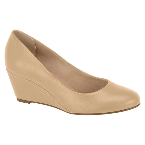 Beira Rio 4791-100 Classic Low Heel Wedge in Beige Napa