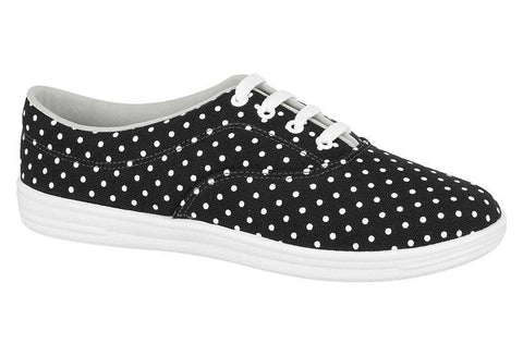 Beira Rio 732-99 Black and White Polka Dot Canvas Sneaker
