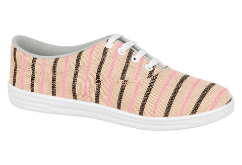 Beira Rio 732-99 Striped Multi Pink Canvas Sneaker