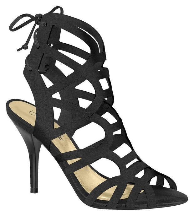Beira Rio 8296-425 Strappy Stiletto Heel in Black Satin