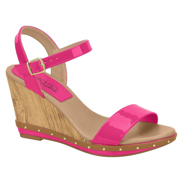 Beira Rio 8304-613 Summer Wedge in Pink Patent