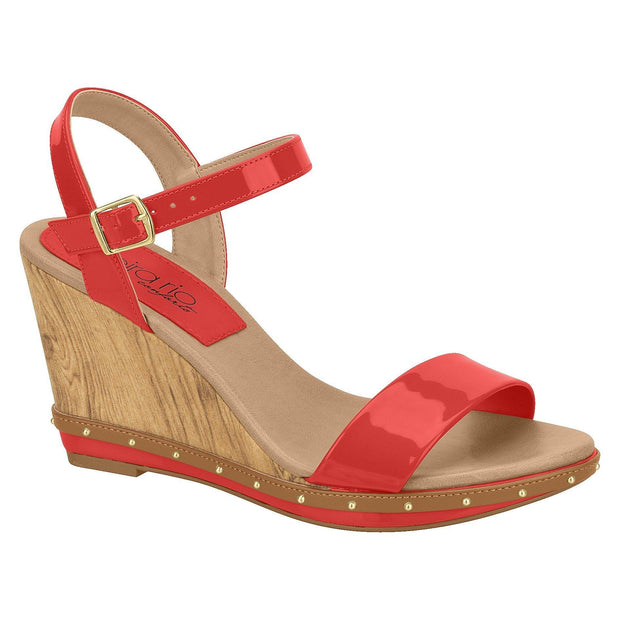 Beira Rio 8304-613 Summer Wedge in Red Patent