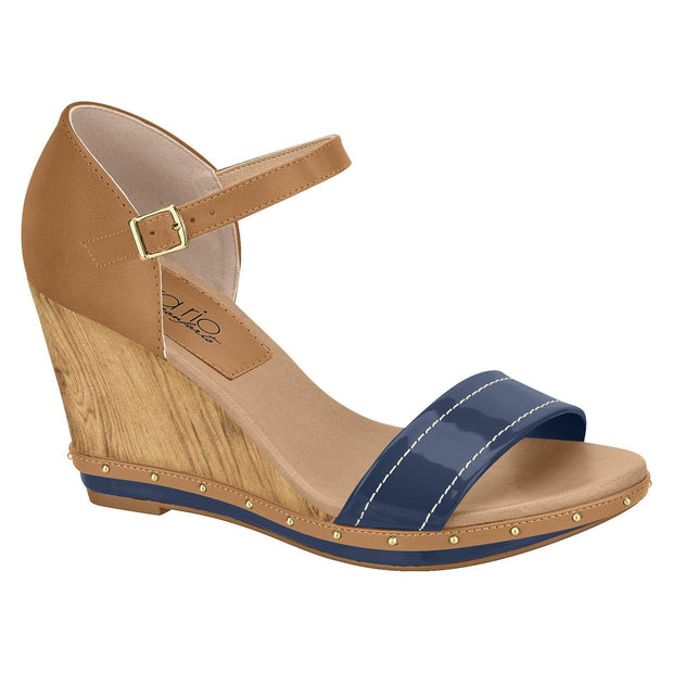 Beira Rio 8304-618 Summer Wedge Sandal in Navy/Caramel
