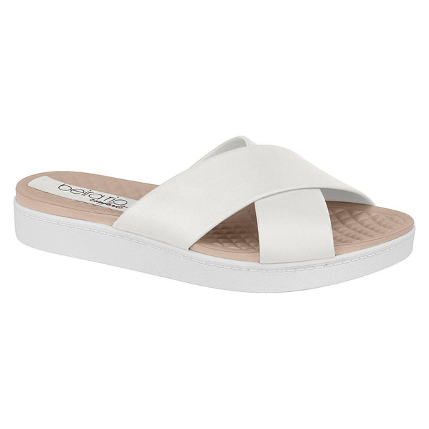 Beira Rio 8323-100 Slip on Slides in White Napa Flats Beira Rio
