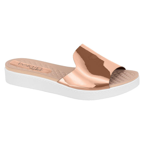 Beira Rio 8323-103 Slip on Slides in Rose Gold
